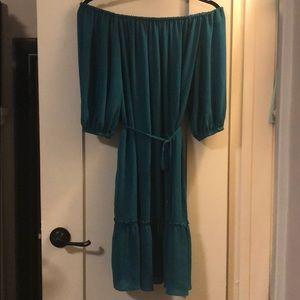 Ella Moss teal off shoulder dress with tie, size S